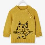 Pull tricot bébé garçon motif tissé