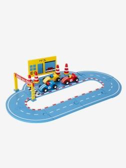 Circuit puzzle en bois avec voitures et accessoires
