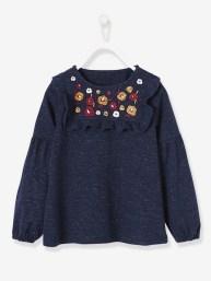 T-shirt brodé fille forme blouse