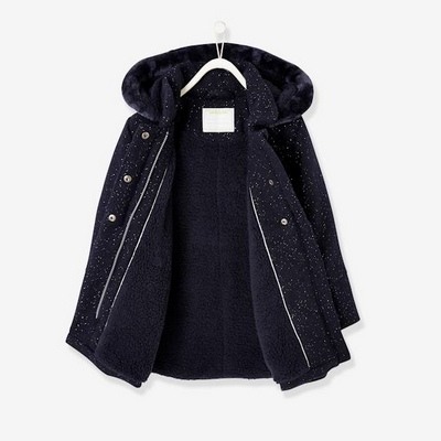 Manteau fille en drap de laine