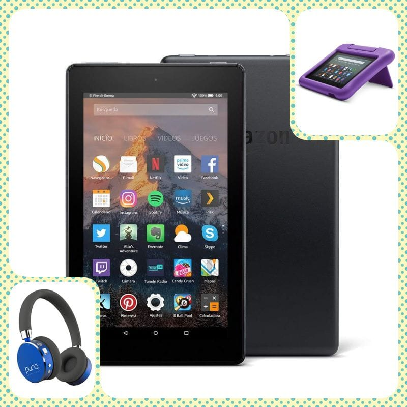 tablet fire 7 con funda y cascos