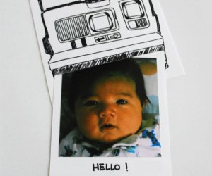 fresh baked paper goods polaroid birth announcement