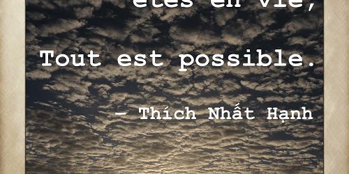 Mamans zen comment être une maman zen et passionnée Design de vie Image Citation Thich Nhat Hanh Parce que vous êtes en vie, tout est possible