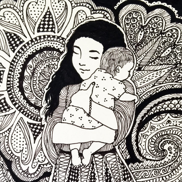 MAMANUSHKA.com || 5 Online Resources I Wish I Had Known As A New Mom || Pen & Ink Illustration by Zarina Teli || Mama & Baby Art