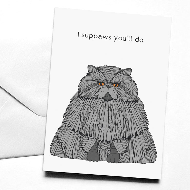 MAMANUSHKA.com || Funny Punny Valentine's Cards || Roundup || Cat Card || Designed by Clare Corfield Carr