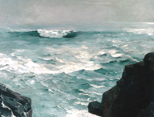 A moody oil on canvas painting of a stormy sea with rocks in the foreground.