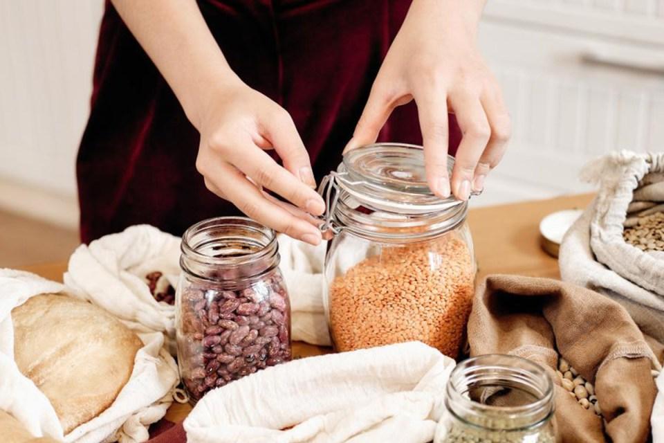 zero dechet bocal vrac cuisine sac reutilisable femme