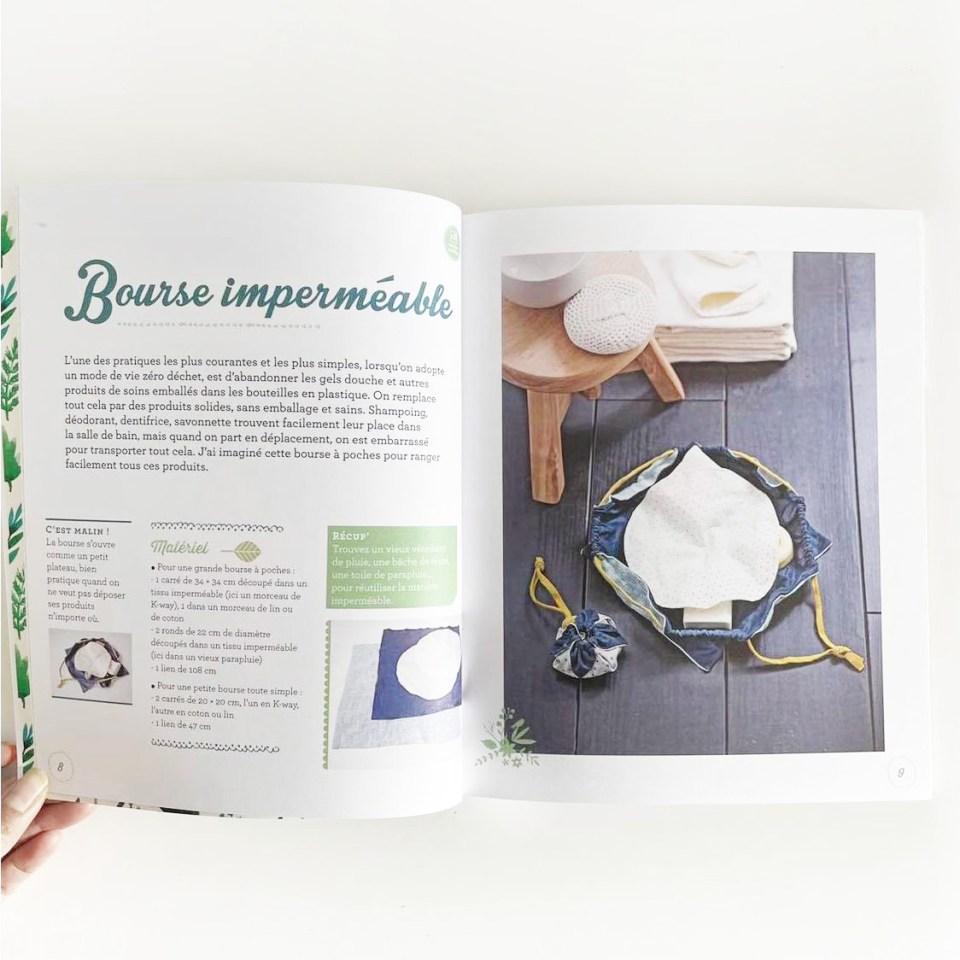 livre créations zéro déchet couture diy pas à pas bourse imperméable pour savon shampoing dentifrice et déo solide