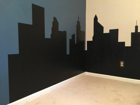 Mama of Both Worlds - DIY Superhero Room Skyline Walls