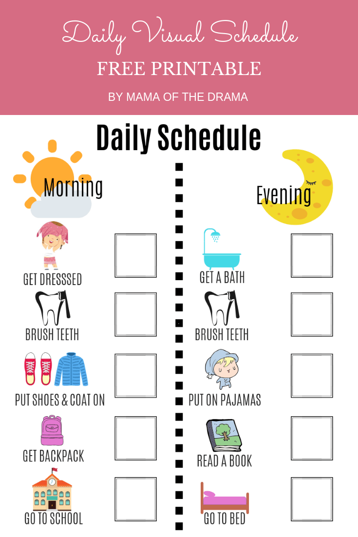 photo about Visual Schedule Printable known as Visible Day by day Timetable Absolutely free Printable Mama of the Drama