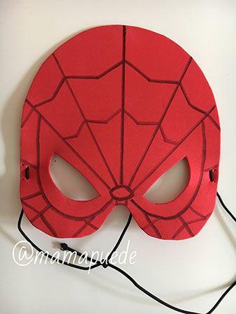 máscara de spiderman hecha con goma eva