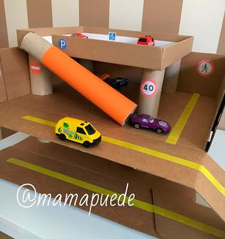 diy parking con material reciclado