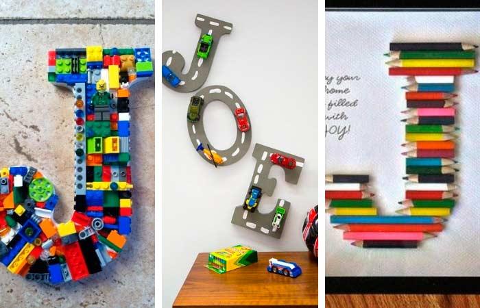 decorar letras con legos