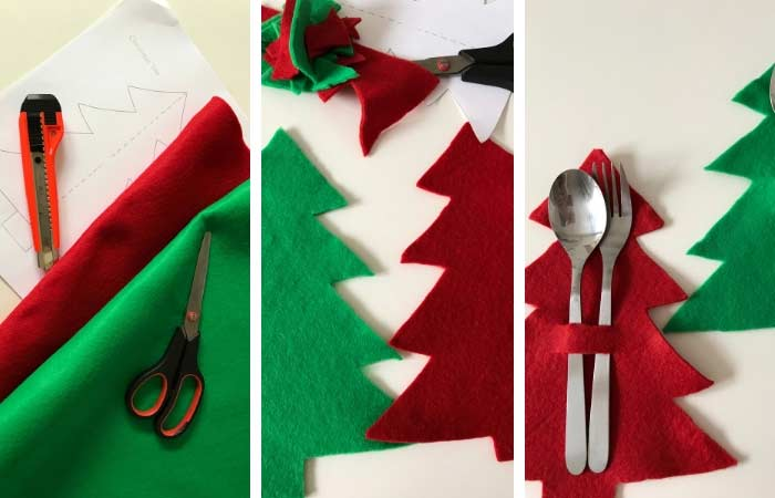 paso a paso para hacer un portacubiertos navideño