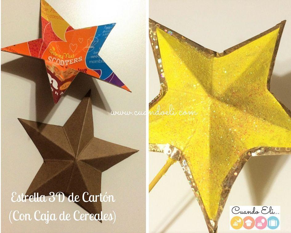 Decorar Estrellas De Navidad En Cartulina.Estrella 3d De Carton Para Arbol De Navidad Mama Puedo