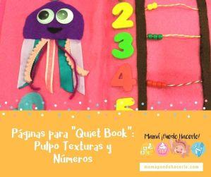 Páginas Quiet Book: Pulpo Texturas y Números