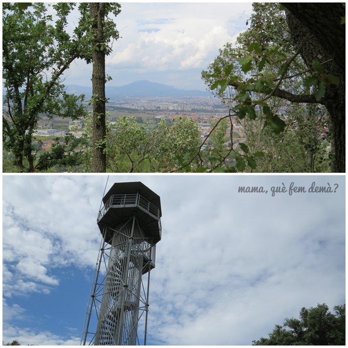 Vistas de la Mola y torre de control en el Puig de la Guàrdia de Cerdanyola del Vallès