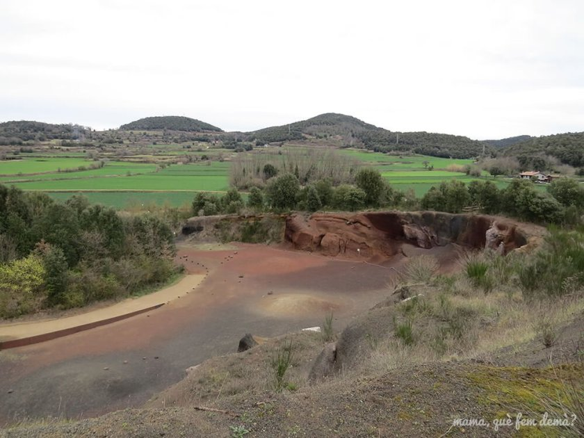 Contraste de colores del verde del campo y el tono rojizo de la tierra volcánica en el Croscat
