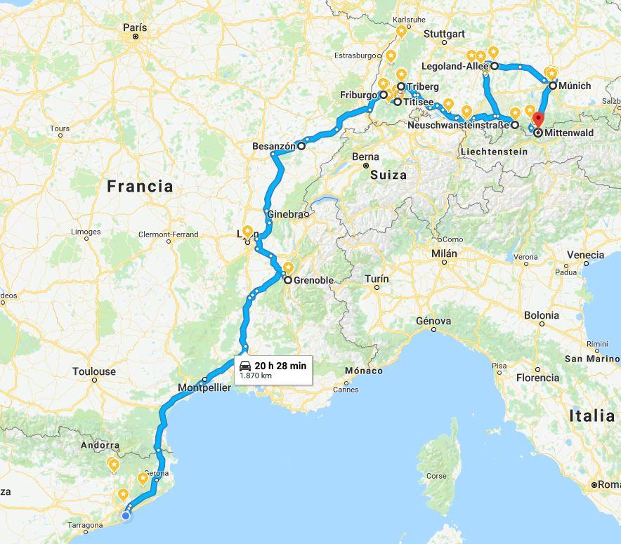 mapa ruta vacaciones Alemania