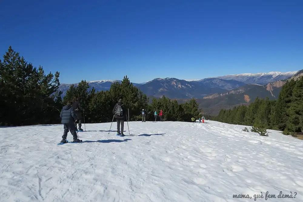 Grupo de personas en raquetas de nieve caminando por una ladera en Rasos de Peguera