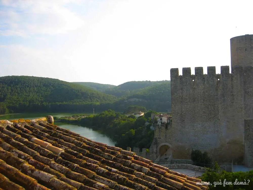vistas de un lateral del Castell de Castellet y del pantà de foix