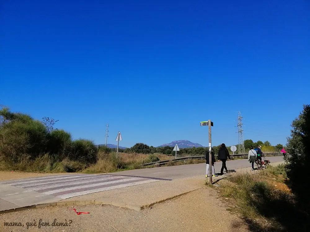 bifurcación de caminos en el Parcx Agrari de Sabadell, con la mola de fondo