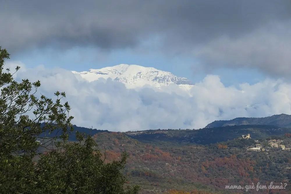 Pirineos nevados desde el camino que lleva al Tozal de Mallata en la Sierra de Guara de Huesca