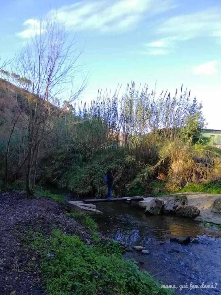 Puente cruza el río Ripoll en la Font de la Teula de Sabadell