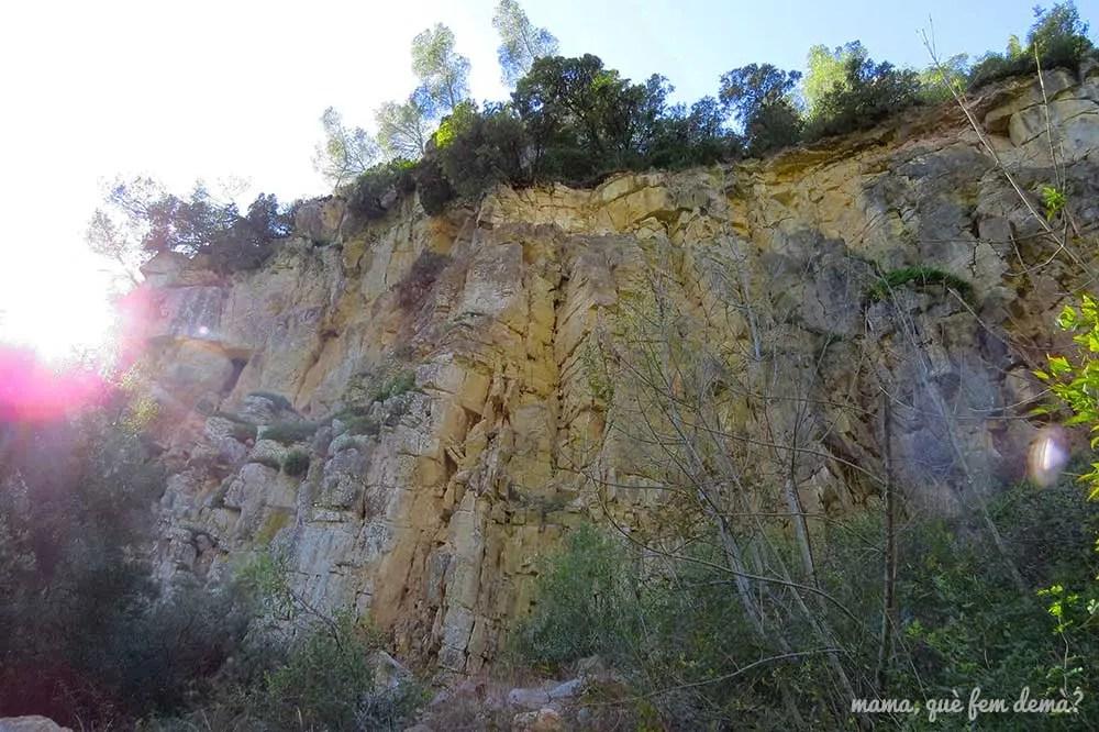 Pared de roca del camino que lleva al Santuari del Foix