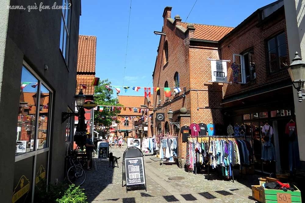 Calle comercial de Odense, Dinamarca