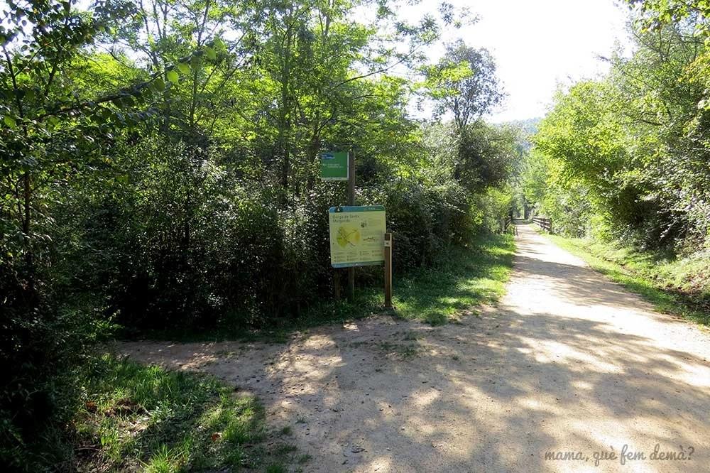 Poste indicador hacia el Gorg de Santa Margarida en les Planes d'Hostoles, Garrotxa