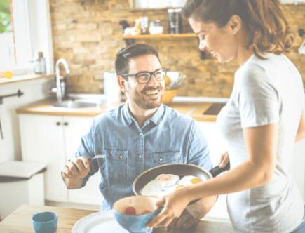 Woman giving her husband food, pinnable image