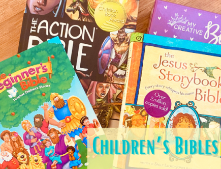 best children's bibles feature image with pictures of kids bibles and toddler bibles