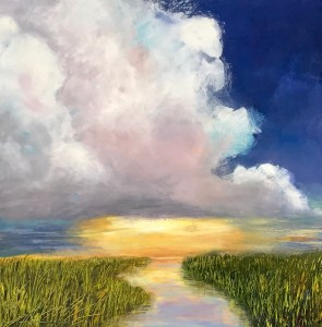 """Denise Petit Caplan, The Sun will Come Out, Acrylic on board, 18""""x18"""", $400"""