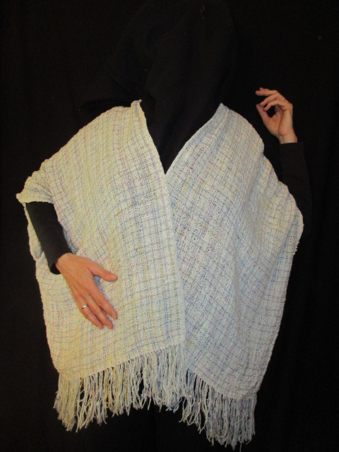 "Kathy Pure Wright, Handwoven Cocoon Jacket, Fiber/Cotton & Silk, 38"" x 25"", $250"