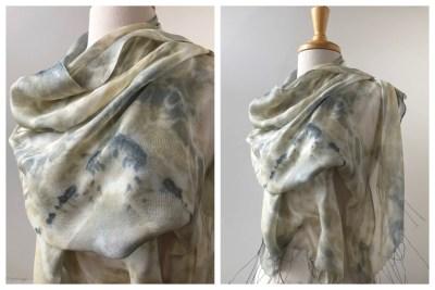 "Elena Rosenberg, Hand-Dyed Scarf, Textile Art / Silk & Rayon, 21"" x 66"", $85"