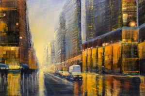 "Jane Black, Heading Downtown, Oil on Linen, 24""x36"", $960"