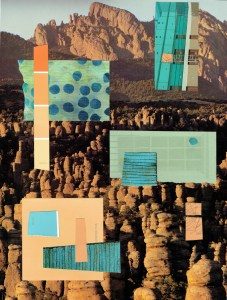 "Chris Timmons, Canyon Sunrise, Mixed-media collage, 13""x9.75"", $400"