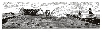 "Dawn Leone, Black Sands Beach, Reynisfjara, Woodcut Print, 24""x87"", $1,200"