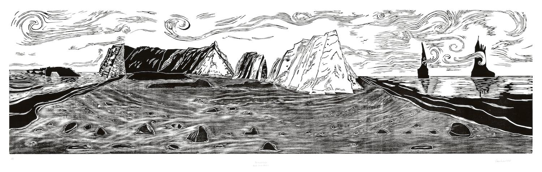 "Dawn Leone, Black Sands Beach, Reynisfjara, Woodcut Print, 24""x87"", $1,200"