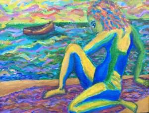 """Dorothy Cancellieri, Woman on Beach, Acrylic, 14""""x18"""", $300"""