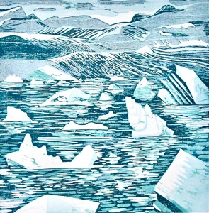 "Dawn Leone, Driftscape, Woodcut reduction print, 12""x12"", $600"