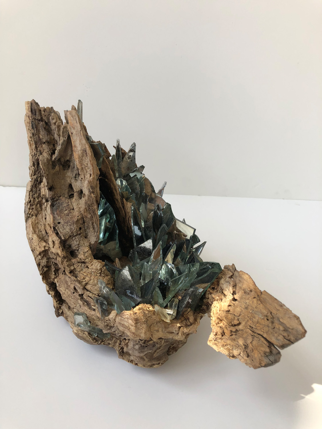 "Christine S. Aaron, Vestige VI, Wood, mirror, wax, 16""x9""x6"", $900"
