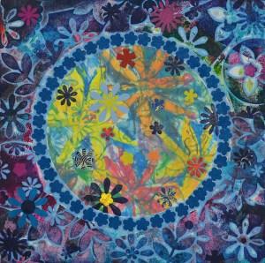"Diane Cherr, Blue Primrose Morning, Collagraph Monoprint, 12""x12"", $1,150"