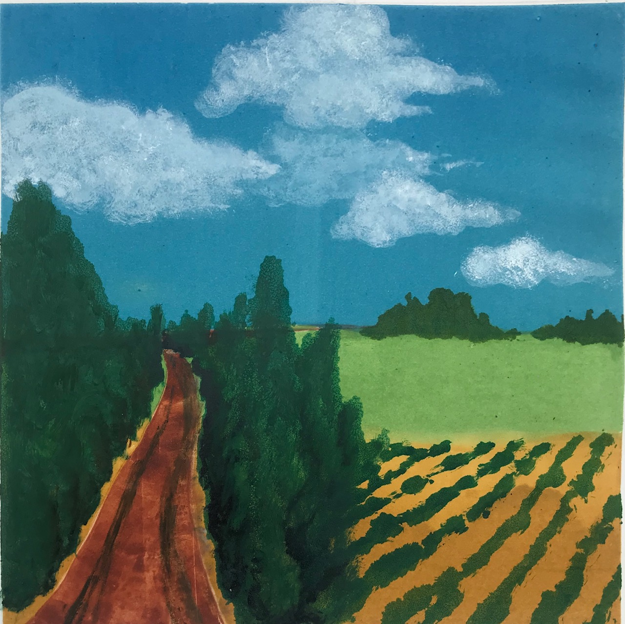 """Sheila M Fane, Country Road, Monotype, 20x20"""", $400"""