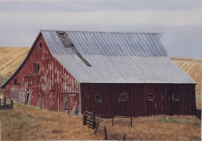 "Recognition Award: Jim Maciel, Idaho Barn, Watercolor, 24""x30"", $250"