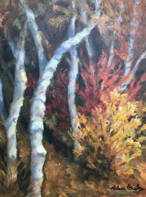 "Arlene Oraby, Family of Birches, Oil, 12""x16"", $350"
