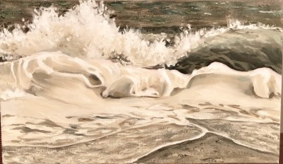 "Deborah Petrucci, Dancing Foam, Oil on canvas, 12""x20"", $650"