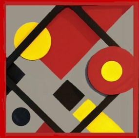 "Joan Lengel, Circles, Mixed media-back of canvas, 30""x30"", $600.00"