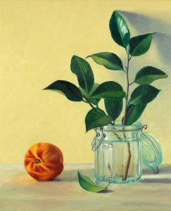 "Douglas Newton, Camellia Branch, Oil on canvas, 24""x20"",$1,100"